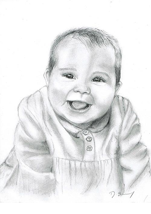 Pencil sketch of a baby girl