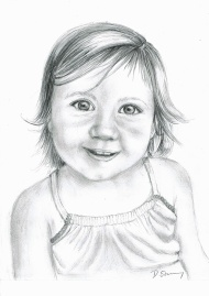 Pencil sketch of young girl