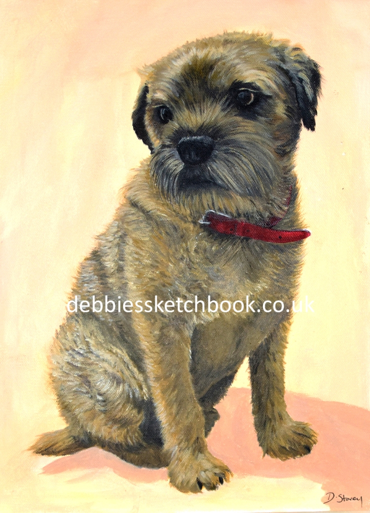 Acrylic painting of a Border Terrier