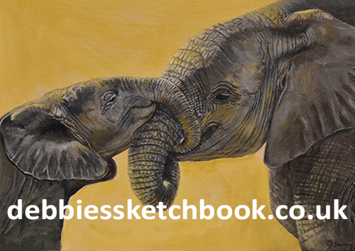 Acrylic painting of elephants