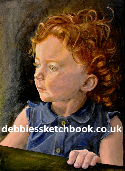 Acrylic painting of little girl on the train