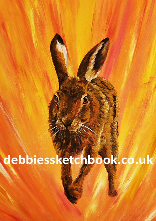 Acrylic painting of a hare